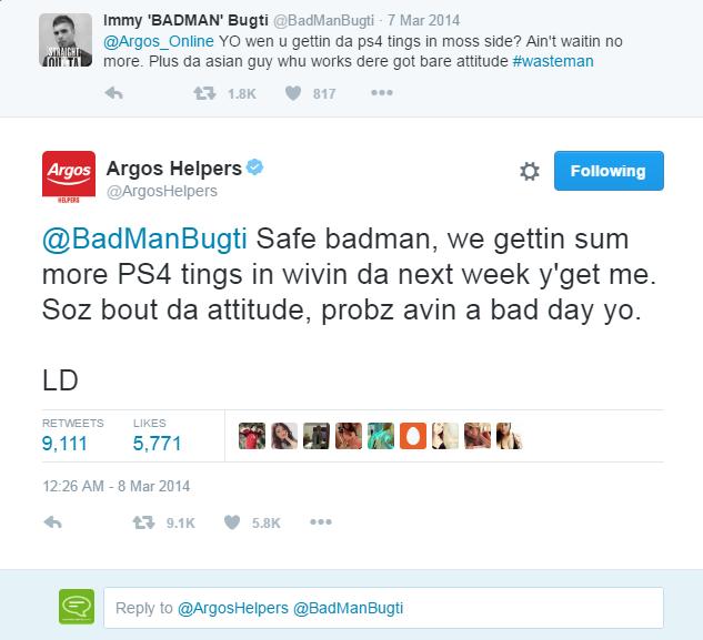 Argos social media