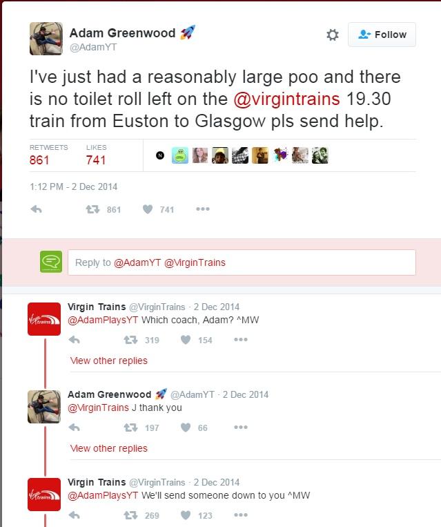 Virgin trains social media ocmplaint
