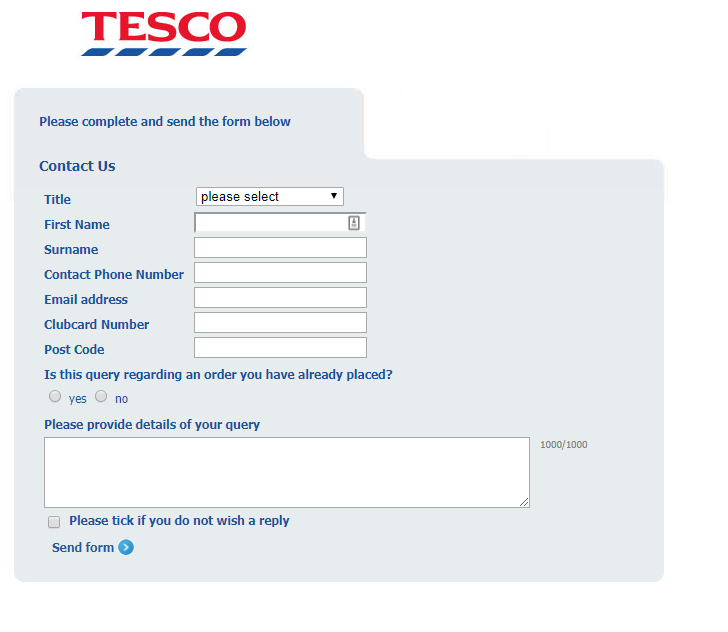 Tesco contact form